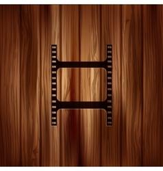 Film web icon Filmstrip symbol Wooden texture vector
