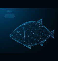 Fish low poly design animal in polygonal style vector