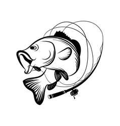 Fishing logo black and white a vector
