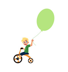 flat boy child riding bicycle air balloons vector image