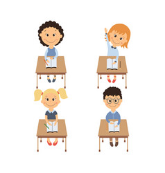 flat children sitting at desk set vector image