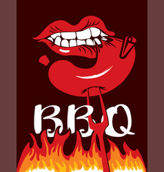 flat with flames and words bbq vector image