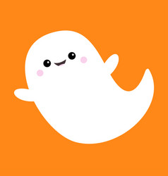 Flying ghost spirit boo happy halloween scary vector