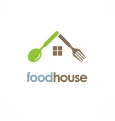 Food house spoon logo vector
