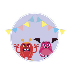 Funny monsters with party garlands decoration vector