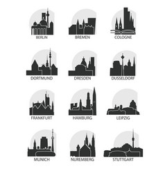 germany cities icons set skyline logo pack vector image