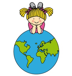 Girl with a globe vector