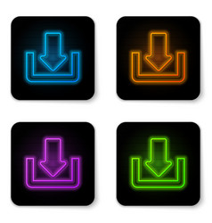 glowing neon download icon isolated on white vector image