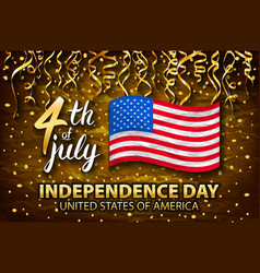 Gold glitter independence day usa greeting card vector