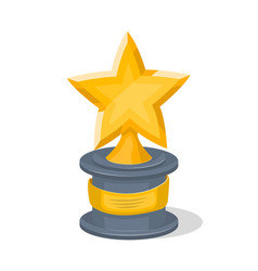 golden trophy cup of star shape vector image