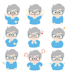 grandfather with different emotions cartoon vector image