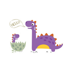Happy dinosaur with baby dino sitting in egg vector