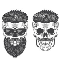 Hipster skull monochrome isolated on white vector
