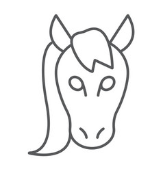 horse thin line icon animal and zoo vector image