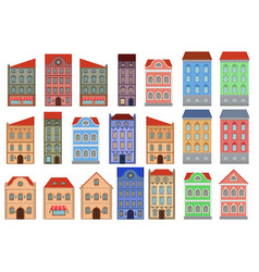 houses set european old buildings outline vector image