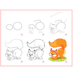 how to draw cute little squirrel educational page vector image
