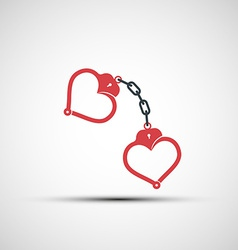 Icons of handcuffs in the form of heart vector