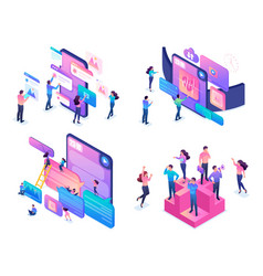 isometric creative young people using device vector image