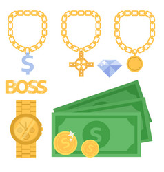 jewelry icons gold gemstones precious vector image
