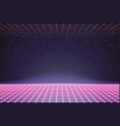 laser grid in deep space retro futuristic vector image