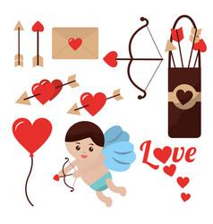 love cupid angel fly bow arrow balloon heart vector image