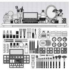make up kit on table line monochrome vector image