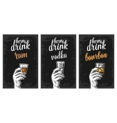 Male hand holding a glasses with vodka rum vector