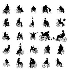 Man and woman in wheelchair silhouettes vector image