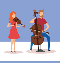 Man playing cello and woman playing violin vector