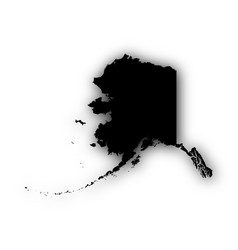 map of alaska with shadow vector image