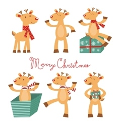 Merry and Christmas card with cute reindeers vector image