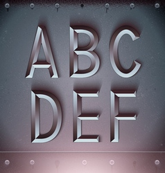 Metal Embossed Font from A to F vector
