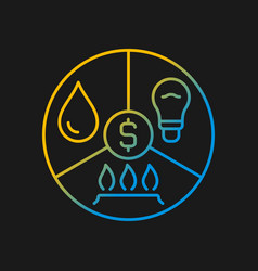 Paying bills gradient icon for dark theme vector