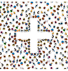 people in heap in form a symbol plus vector image