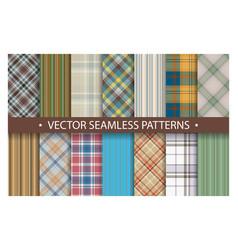 Plaid pattern seamless ornate set tartan vector