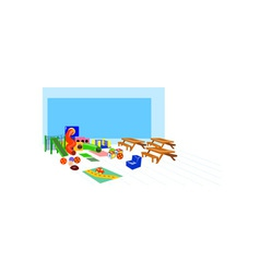 Playground slides picnic table benches vector