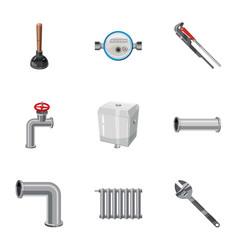 Plumbing work icons set cartoon style vector