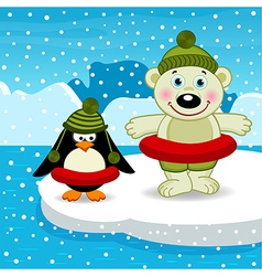 polar bear penguin go swimming vector image