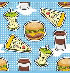 pop art seamless pattern with fast food vector image