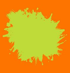 print template green neon splash on orange vector image