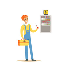 professional electrician man character screwing vector image