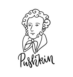 pushkin sketch linear portrait hand drawn vector image