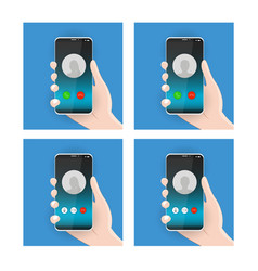 realistic modern smatphones a phone call icons vector image