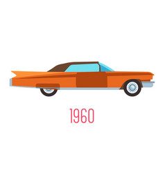Retro car 1960s vintage vehicle isolated icon vector