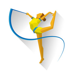 Rhythmic gymnastics with ribbon girl on white vector