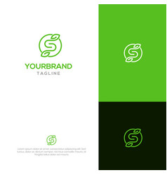 s with leaf logo template vector image