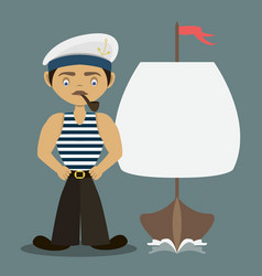 Sailor with a pipe and a ship vector