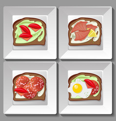 sandwiches with salmon salami tomatoes egg vector image
