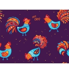 Seamless pattern of rooster background for vector image