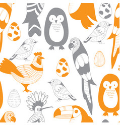 seamless pattern with birds and eggs vector image